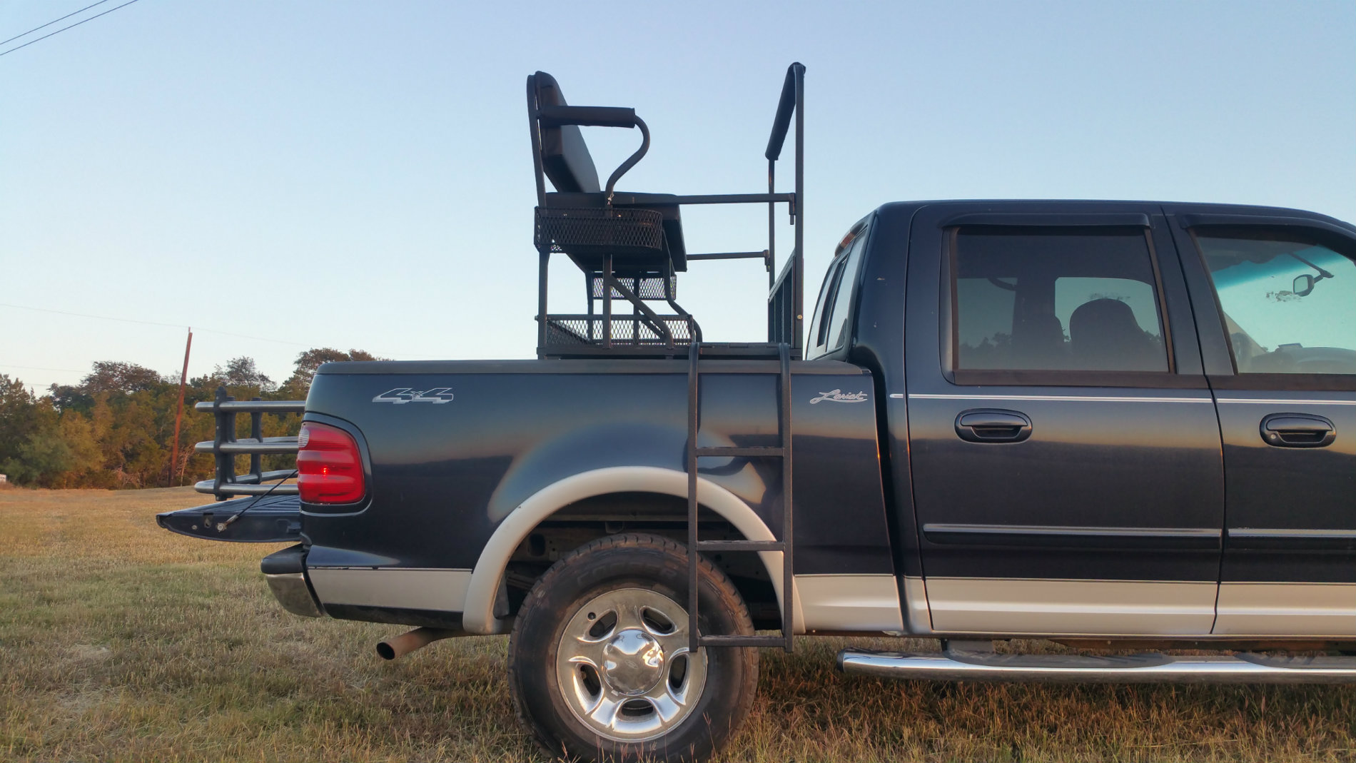 Pick-up Rear Hunting Seat Side View with Ladders Down